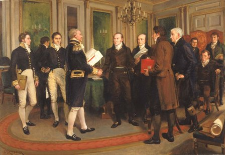 SIGNING OF THE TREATY OF GHENT: Admiral of the Fleet James Gambier is shaking hands with the U.S. Ambassador to Russia, John Quincy Adams. Also, the British Undersecretary of State for War and the Colonies, Henry Goulburn, is carrying a red folder. Smithsonian American Art Museum