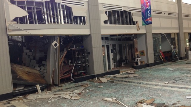 Artists' gallery space damaged in Selden Arcade explosion. Photo courtesy of Phillip Decker