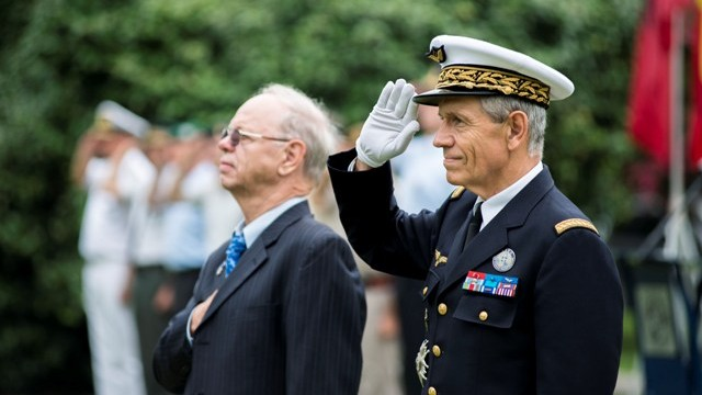 NORFOLK, Va. (July 2, 2015) - - French Air Force Gen. Jean-Paul Paloméros, Supreme Allied Commander Transformation, and Mr. Wolfgang Yagen salute the National Ensign as it is raised at a ceremony in honor of Independence Day on Naval Support Activity Hampton Roads, July 2. Allied Command Transformation, located in Norfolk, Va., is the only NATO Headquarters outside of Europe and recognizes all 28 NATO Alliance countries during their respective national days. (NATO photo by Mass Communication Specialist 1st Class Stephen Oleksiak/Released)