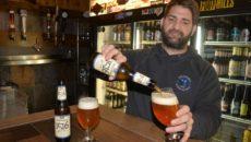 (Kevin Osfolk of Portsmouth's Bier Garden pours a glass of 1516 Kellerbier from Weihenstephaner)