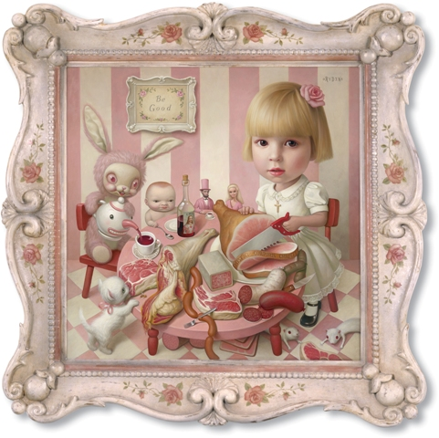 Mark Ryden, Rosie's Tea Party, 2005 | Oil on Canvas, 51 x 51 inches Private Collection | Courtesy of Lio Malca, New York ©Mark Ryden