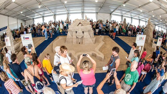 (Sand Sculpture Contest is a fascinating part of the annual Neptune Festival at the Virginia Beach Oceanfront)
