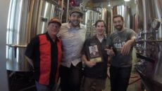 The 10th anniversary collaboration beer was created by (L-R) Allen Young, Cory Maggard, Adam Gurtshaw and Jimmy Loughran