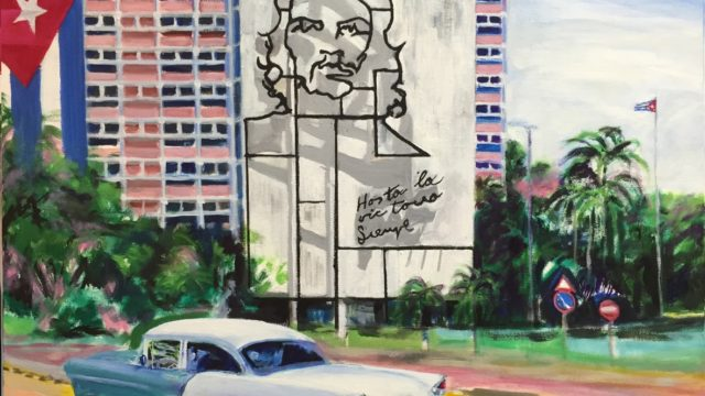 """Cuba & Che"" by Dick Rawls as part of the ""Faraway Places"" exhibit at the Artists Gallery, Virginia Beach"